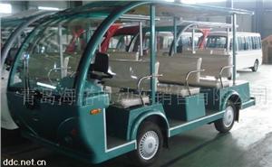 益高8座绿色电动观光游览车