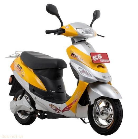 韩铃小光阳黄色电动摩托车
