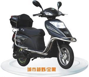韩田城市越野黑色电动摩托车