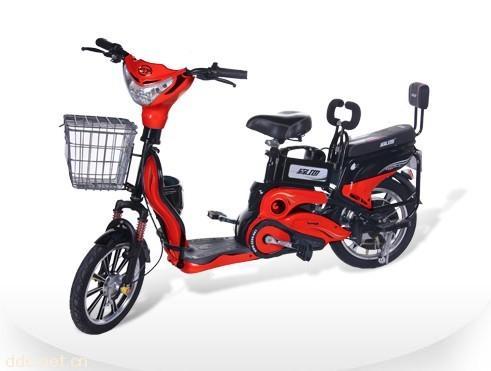 森地红色花雨简易电动自行车图片