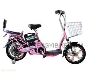 天津16寸金百合粉色简易电动自行车